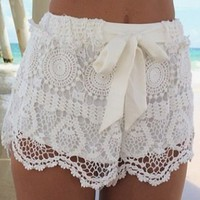 Drawstring Solid Color Lace Stylish Shorts For Women