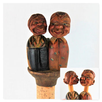 Vintage ANRI Hand Carved Wooden Bottle Stopper, The Kissing Couple