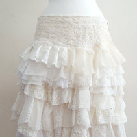 Upcycled Skirt Woman's Clothing Ivory Cream White Ruffles Cotton Linien  Lace Chiffone Layers Mori Girl