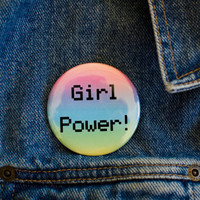 "Girl Power 2.25"" Pin Button / Feminist Bottle Opener Key Chain"