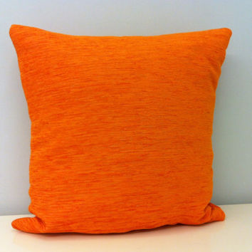 Orange Chenille Pillow Cover, Orange Pillows, Chenille Pillow,Decorative Pillow, Rustic Pillow, Bohem Pillows, Cotton Cushions, Throw Pillow