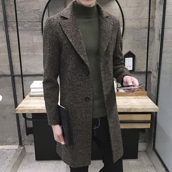 Men Slim Large Size Wool Blend Peacoats Autumn Woolen Winter Warm Jacket Cashmere Tweed Down Coat Fashion Long Overcoat 4Xl 5XL