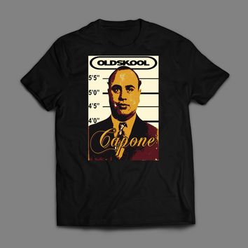 OLD SKOOL GANGSTER AL CAPONE MUGSHOT CUSTOM ART T-SHIRT