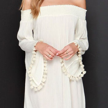 White Long Sleeve Off The Shoulder Tassel Dress