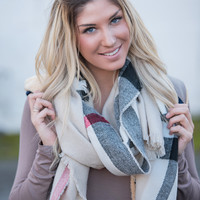 Wonderful Waldorf Plaid Blanket Scarf (Beige)