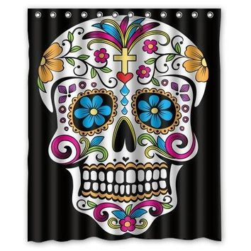 "Dia De Los Muertos Polyester Fabric 60""(w) x 72""(h) Shower Curtain and Hooks"