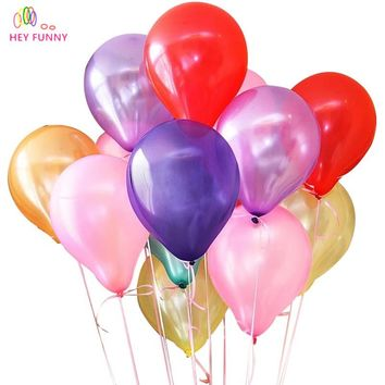 "HEY FUNNY 50pcs/lot 10"" 1.2g Round Latex Pearl balloons wedding Decoration Birthday party decoration babys shower Balloon supply"