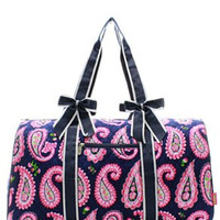 Paisley Print Quilted Duffel Bag - 2 Color Choices