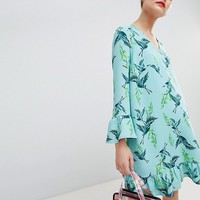 Essentiel Antwerp Drop Waist Dress in Bird Print at asos.com