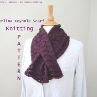Merlina Keyhole Scarf Knitting Pattern, Pull Though Neck Warmer, Easy Knit, Worsted Yarn, Scallop Lace