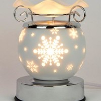 Snowflakes Table Fragrance Aroma Lamp Oil Diffuser Wax Tart Candle Warmer Burner Home Decor Touch Lamp