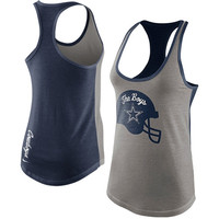 Nike Dallas Cowboys Ladies Helmet Tri-Blend Tank Top- Gray/Navy Blue