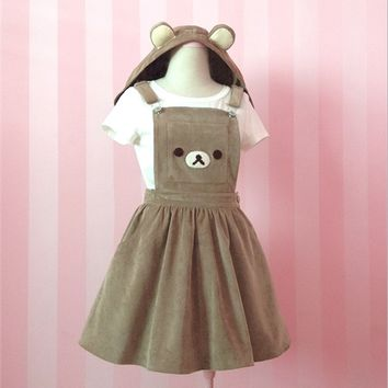 Brown Bear Embroidery Removable Ear Hats Cute Strap Suspender Dress