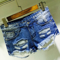 2015 Fashion New Women Ripped And Hole Denim Hot Shorts High Waist Grunge Style Mini Shorts Lady Short Pants Blue Prefashion = 1929743428