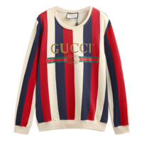 GUCCI Autumn And Winter New Fashion Bust Letter Stripe Couple Long-Sleeved Sweater Top