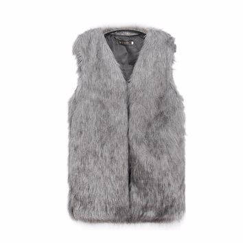 Winter Thick Warm Rabbit Faux Fur Vest For Women Shaggy Faux Fur Jacket Outwear Plus Size Gilet Fourrure Fourrure Femme