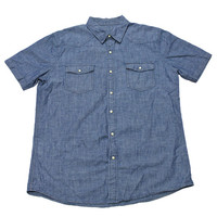 Vintage 90s Chambray Pearl Snap Button Up Shirt Mens Size Large