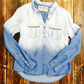 Studded Pocket Ombre Jean Shirt