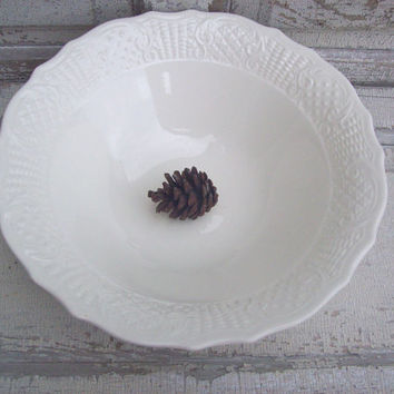 Creamy White Serving Bowl Large Pottery Hostess Gift