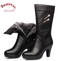High heel boot Size 35-40 Women knee high heel genuine leather Winter boots Black Sexy Women's motorcycle boots Fashion Long