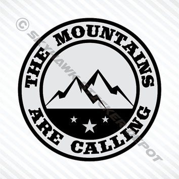 Mountains Are Calling Bumper Sticker Vinyl Decal MacBook Pro Air Sticker Hiking Outdoor Sticker Car Truck Decal 4x4 Off Road Decal Fit Jeep