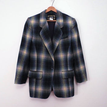 Vintage 80s Boyfriend Jacket by Capezio Shadow Plaid Curvy Cut Blues and Green Size M to L