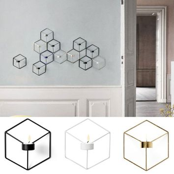 Visual Touch Nordic Style 3D Geometric Candlestick Metal Wall Candle Holder Sconce Matching Small Tealight Steel Minimalist Inte