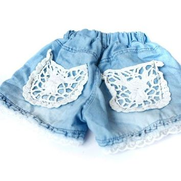 Kids Girls Shorts Jeans Lace Pocket Demin Summer Short Pants