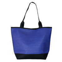 Cobalt Blue Tote Bag, Large Woven Tote, Bright Blue Shopper Tote, Snap Top Purse by Spicer Bags, Made in USA Structured Tote