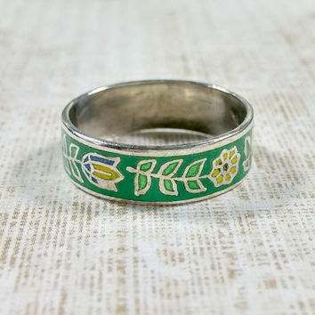 Vintage Enamel on Silver Ring Wide Band 925 Sterling Silver Green Base with Colored Flowers Blue Green Yellow Size 5.5