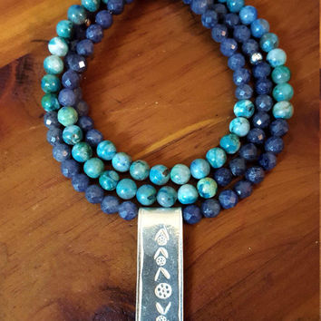 EMPOWERMENT Throat Chakra Chrysocolla Blue Jade Hill Tribe Silver Stamped Flower Pendant 108 Bead Mala 108 Mala Beads Necklace Yoga Necklace