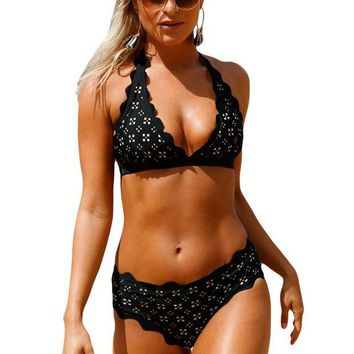 CUPUP9G Black Scalloped Laser Hollow Out Halter Bikini Swimsuit