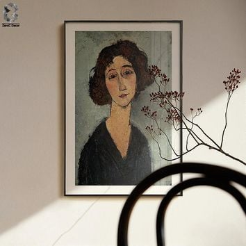 Amedeo Modigliani of Italy Artist Canvas Art Poster and Print Girl Portrait Wall Painting Picture for Living Room Home Decor