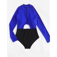 Cut Out Long Sleeve Swimsuit