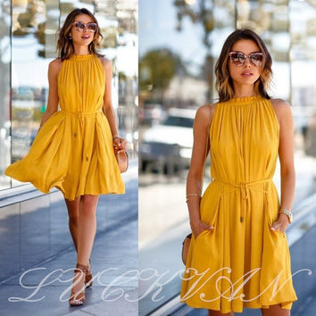 Women's Summer Yellow Casual Sleeveless Evening Party Beach Dress Short Mini Dress = 1946733252