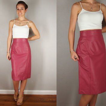 Vintage Pink Leather Pencil Skirt, HIGH WAIST, Medium/Large, Mauve Genuine Leather Body Con Bandage PENCIL Skirt Midi Skirt Maxi Skirt