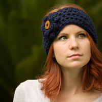 Ear Warmer Headband with Flower, Wood Button, Navy Crochet Headband