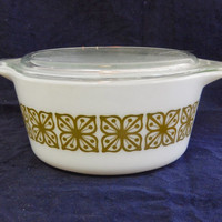 Pyrex Verde (Square Flower) 474B and 474C Covered Casserole 1.5 Quart