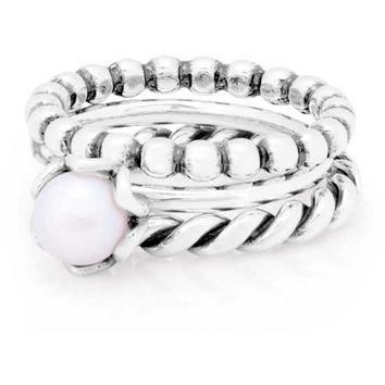 Authentic Pandora Jewelry - Ocean's Pearl Ring Stack