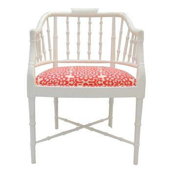 Pre-owned Hollywood Regency White Bamboo Chair