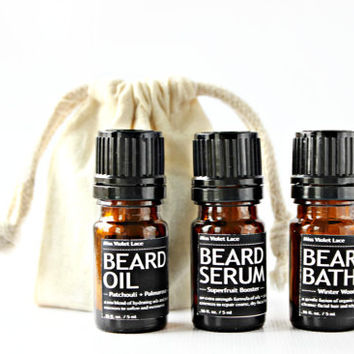 sample MEN'S GROOMING SET. vegan beard oil + beard serum + beard bath wash. 100% natural trial size beard care.