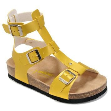Birkenstock new summer ladies fashion cork flat shoes ladies casual sandals yellow