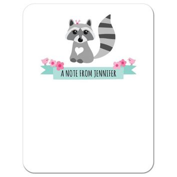 Personalized name notecard with cute raccoon, pink flowers, birds and aqua blue ribbon banner