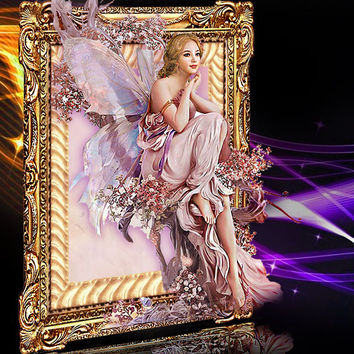 New 5D DIY Diamond Painting Butterfly Fairy Mosaic Crystal Round Rhinestone Portrait Embroidery Beauty Home Decor Cross Stitch