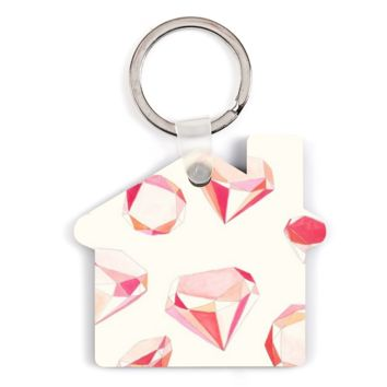 Pink Diamonds Hardboard House Keychain - House Custom Keychains