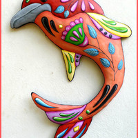 Painted Metal Dolphin Wall Hangings - Tropical Home Decor - Handcrafted Metal Art - 32""