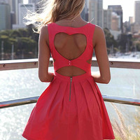 Heart Cut Out Dress (Coral)