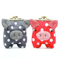 Supermarket: Double compartment cherry red piggy clutch purse from Misala Handmade Bags & Purses