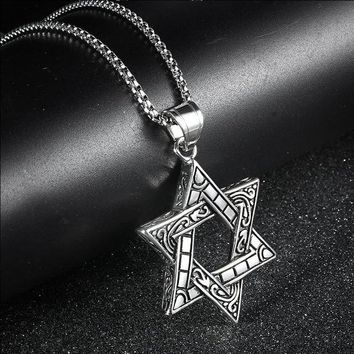 RIR Star Of David Pendant Necklace For Israel Jewelry Jewish Magen Stainless Steel Pentagram Supernatural Necklaces