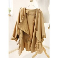 Beige Pumping Windbreaker Jacket Cotton Women Blazer@XYZ9777